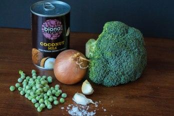 Ingrediënten voor broccoli kokos soep
